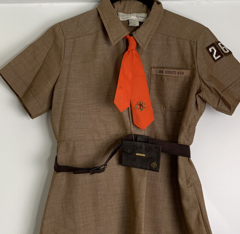 Vintage Brownie Girl Scout Dress Brown Size 8 1/2 with Pouch and Belt Troop 267