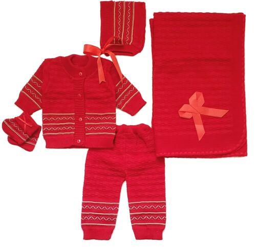 Baby Crochet Girl and Boy Newborn Beanie Bonnet Hat Blanket 5 PC Outfit Set New