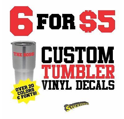 Custom Rambler RTIC Tumbler Decal Personalized Name Vinyl Sticker Monogram