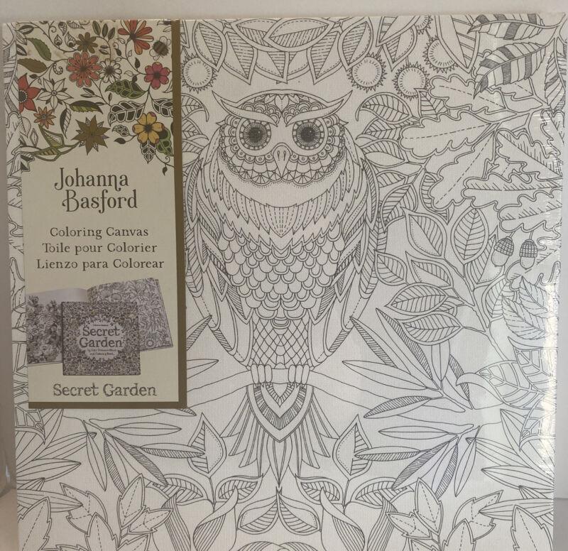 """Johanna Basfird Coloring Canvas """"Secret Garden"""" Owl  12""""x12"""""""