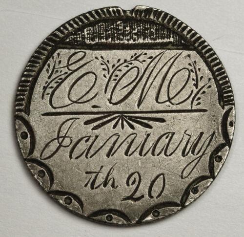 "1888 Liberty Seated Dime.  Love Token.  ""E.M.""  January  20th  136455"