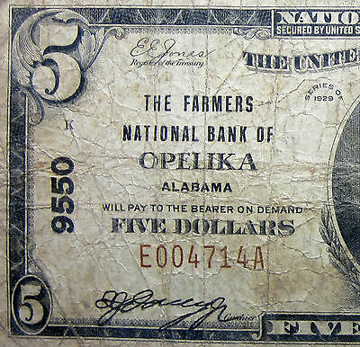 1929  5 National Bank Note   Farmers Ntl Bank Of Opelika   Al 9550  Trusted