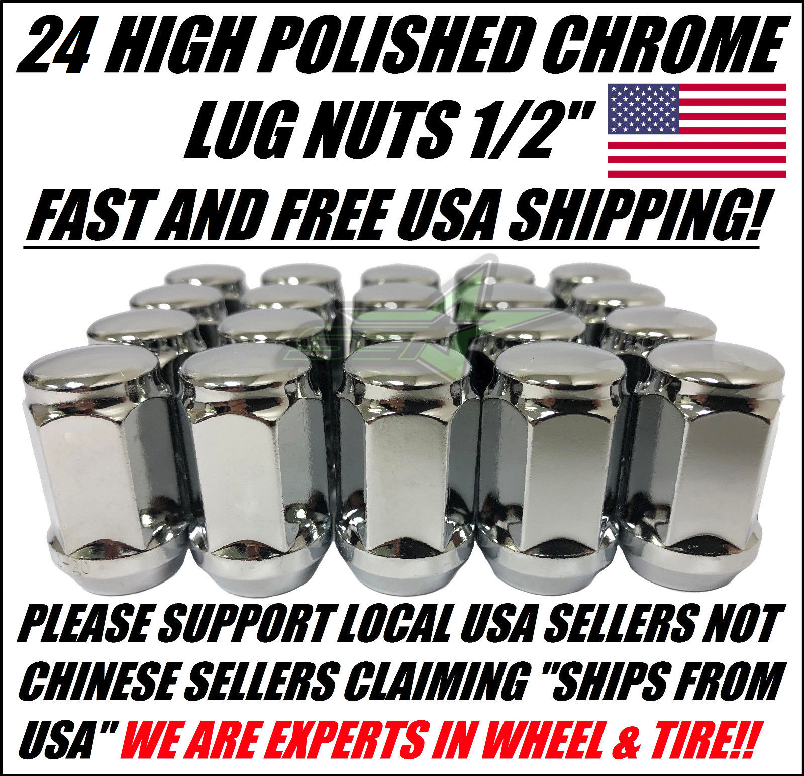 Ineedup Pack of 24 Wheel Lug Nuts 1//2-20 Thread-Size and Close End Replacement for Dodge Dakota//Durango//Viper 1991-2010