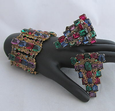 Vintage Czechoslovakia Open Back Jewel Glass Stones Ex Wide Bracelet&2 Clips Set