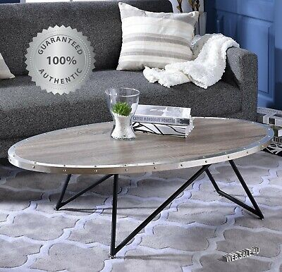 Modern Oval Coffee Cocktail Table Rustic Gray Top Industrial Iron V Shape Style  Black Oval Cocktail Table