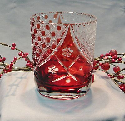 Ruby Red Set of 6 Hand Cut Mixed Drink Glasses