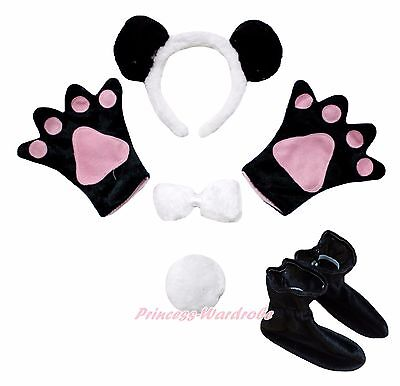 Halloween Panda Bear Headband Bow Tail Paw Shoes 5pc Child School Party Costume - Baby Panda Costumes Halloween