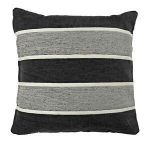 Retro & Funky Chenille Striped Cushion Cover in Black & Silver Grey