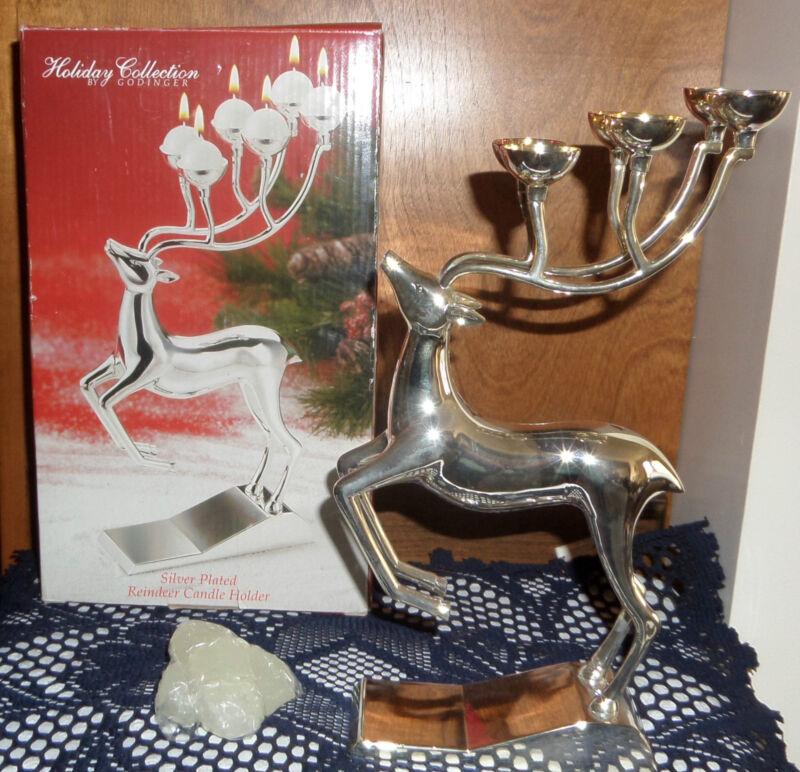Vintage Silverplate Reindeer Candle holder Godinger Candleabra Holiday Lights