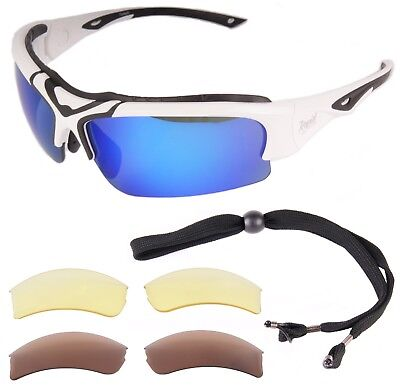 POLARIZED SPORTS SUNGLASSES With Blue, Brown & Yellow Interchangeables & Strap