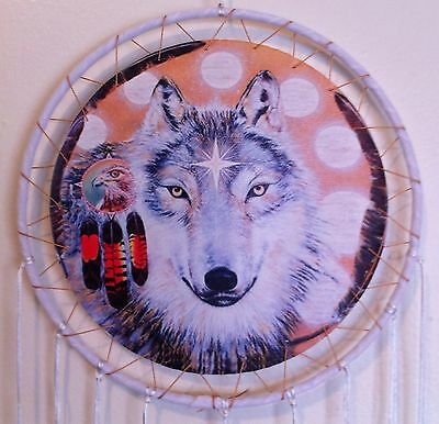 """Cherokee 26"""" Dream Catcher, Wolf Printed on Canvas, White Feathers, Black Beads"""