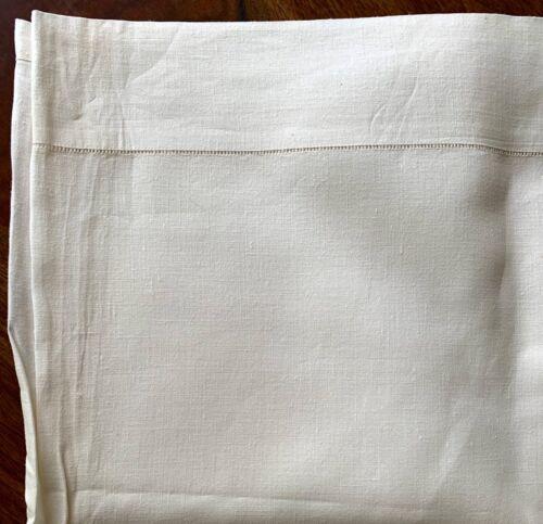 """antique linen sheet 80 x 64"""" heavy white linen w laddered hem at top gd cond"""
