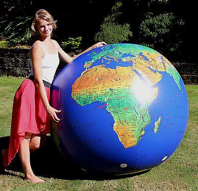 "72"" Inflatable Dark Blue TOPOGRAPHICAL Earth Globe - Huge Heavy Duty Beach Ball"
