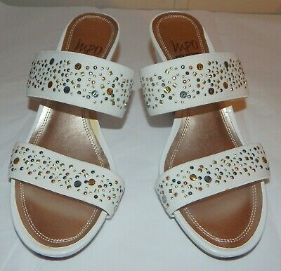 Impo  White Textile Slide Sandals Wedge heels Beaded Straps   womens sz 7.5