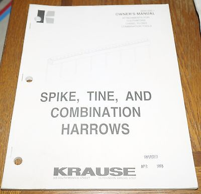 Krause Spike Tine Combination Harrows Owners Manuals