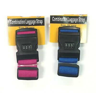 Travel Mate Strap Luggage Belt 3 Digital Dial Combination Safe Lock Pink or Blue