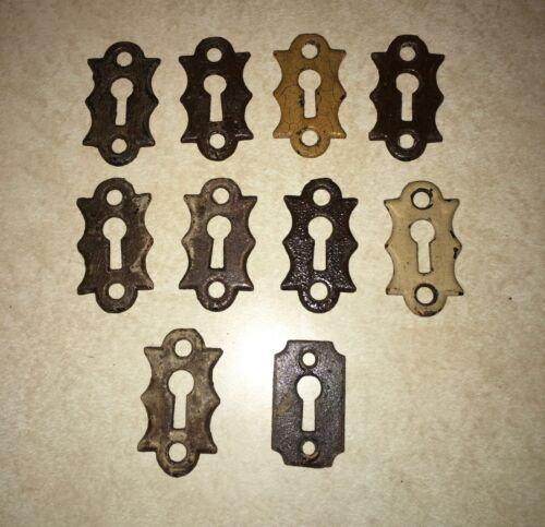 Antique Victorian Skeleton Key Hole Cover Escutcheon Lot of 10