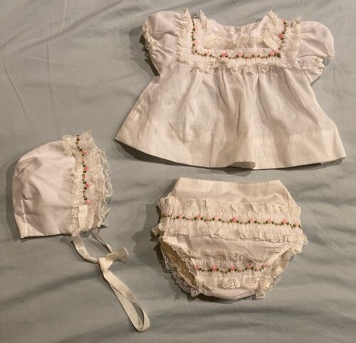 Vtg Alexis 3 Piece Baby Girl Outfit Dress Diaper Cover Panties and Bonnet ~ USA
