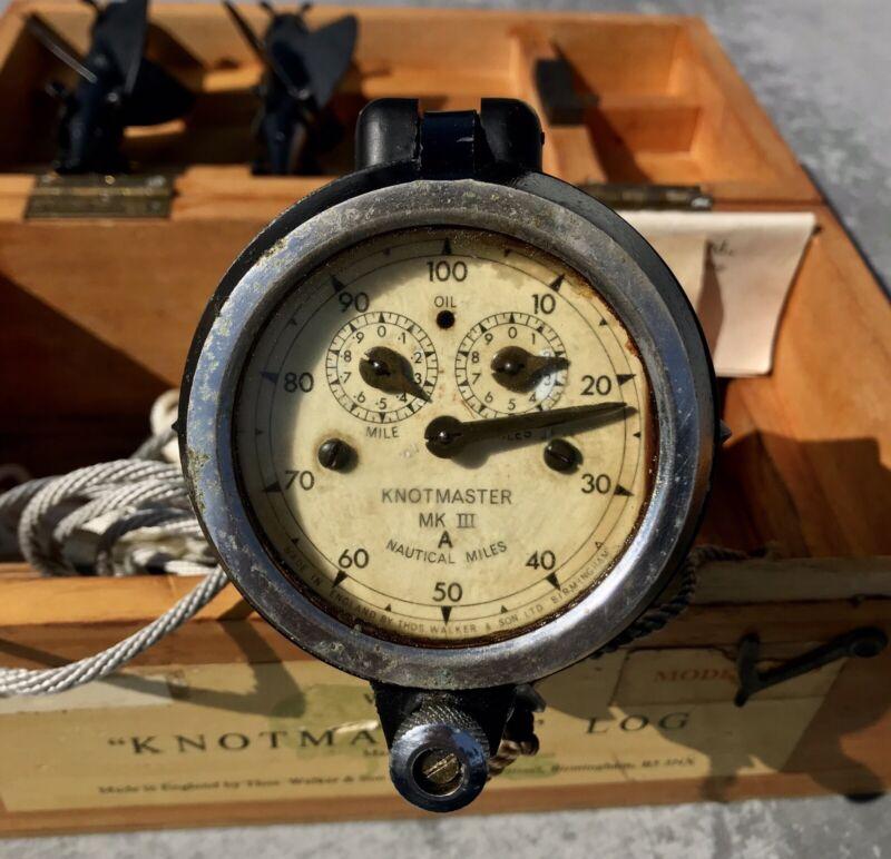 Walker's Knotmaster Log Mark 3 A KDO, NATURAL PATINA! - Vintage Nautical Antique