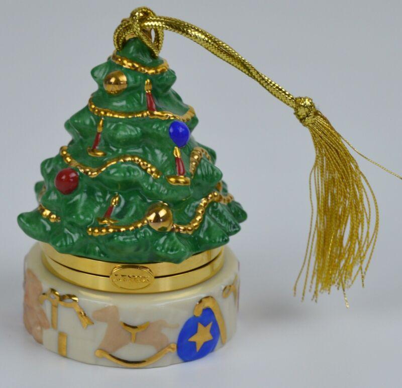 Lenox Christmas Tree Trinket Box Holiday OrnamentChina Treasures Collection