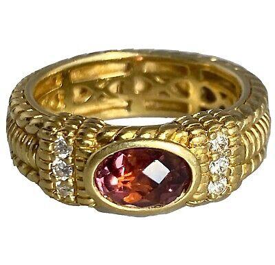 Judith Ripka 18K Yellow Gold Diamond Pink Tourmaline Vintage Band Ring 5.75