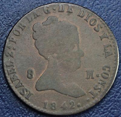 1842 SPAIN 8 MARAVEDIS COIN