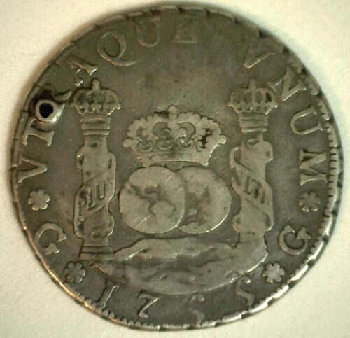 1755 GJ Guatemala Four Reales Silver Coin YG You Grade Circulated 4 Reales Coin