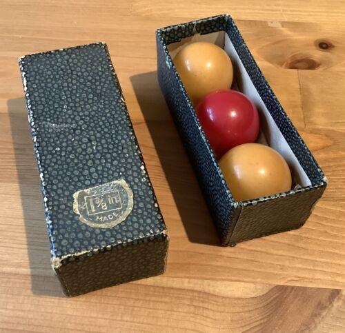 Vintage Boxed Set Of Billiard Balls 1 3/8 Inch