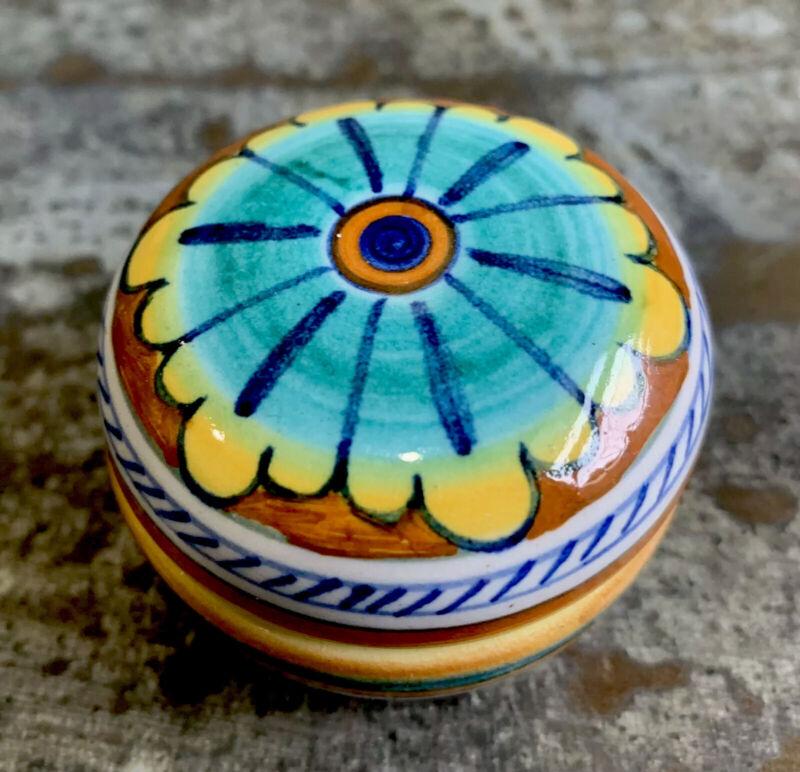 "SIENA DEL AMANO  Vintage Hand Painted Ceramic Trinket Powder Box Decor Italy 2"""