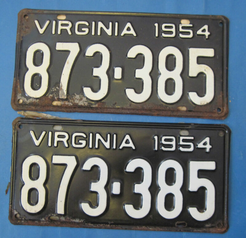 1954 Virginia license plates matched pair never used