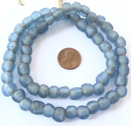 Handmade Blue Teal Krobo recycled Glass African trade Beads-Ghana