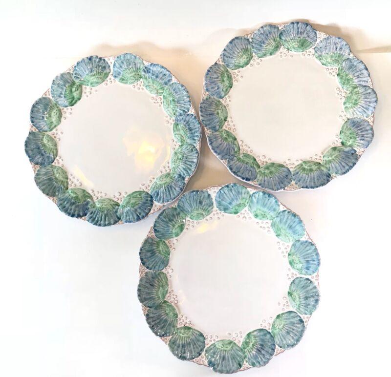 PORTUGAL MAJOLICA Seashell Sea Embossed Scalloped Edge Blue Green Plates Dishes