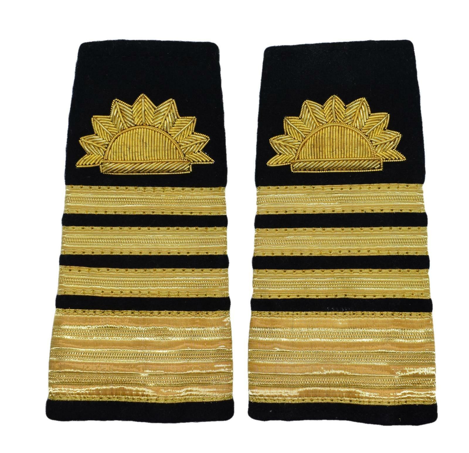 Merchant Navy Epaulette Gold Embroidered Sun 4 Bars for Admiral