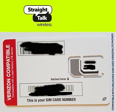 Straight Talk SIM card •Verizon iPhone 6 6+ 6s 6s+ Plus SE
