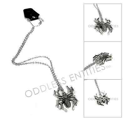 Silver Gothic Black Widow Spider Bug Insect Halloween Pendant Chain Necklace - Black Widow Necklace
