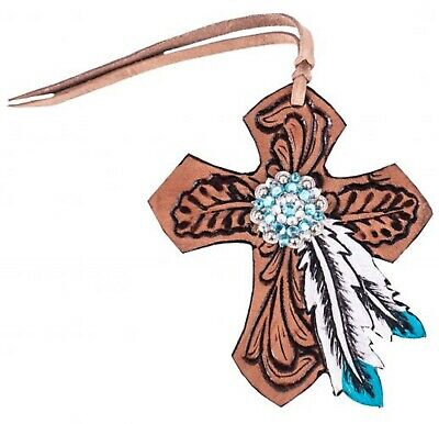 FEATHER & Bling Concho Tooled Leather Tie On Cross Western Saddle Horse Tack