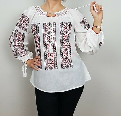 Romanian Peasant Blouse (Embroidered Romanian Traditional Peasant Blouse
