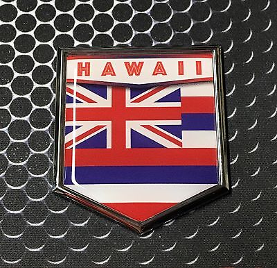 Hawaii State Flag Domed CHROME Emblem Proud Flag Car 3D Sticker 2