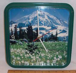 ALASKA DENALI PHOTO WALL CLOCK BY CENTURY CLOCK - 9 X 9 SQUARE GREEN FRAME