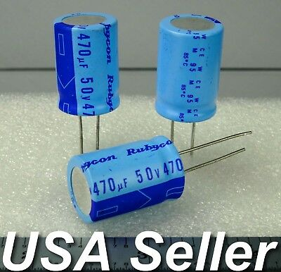 Lot Of 5 470uf 50v Rubycon Radial Electrolytic Capacitors Low-esr - Usa Seller