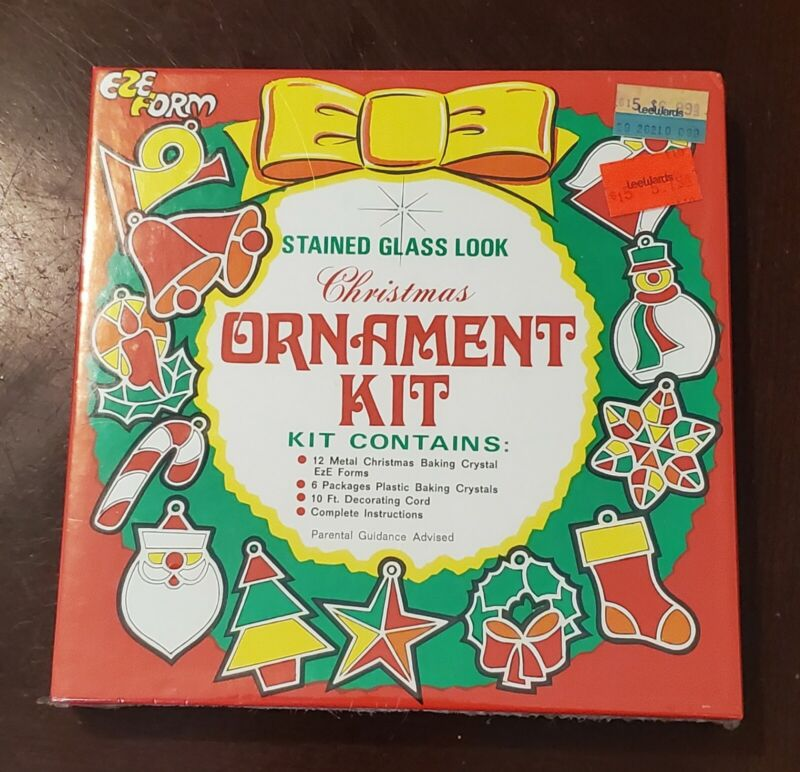 Eze form stained glass look Christmas ornament kit vintage brand new and sealed