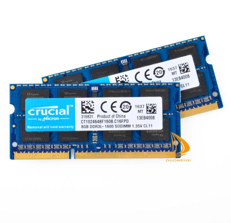 LOT Crucial 16GB 8GB 2Rx8 PC3L-12800 DDR3-1600Mhz 1.35V SODIMM Memory Laptop RAM