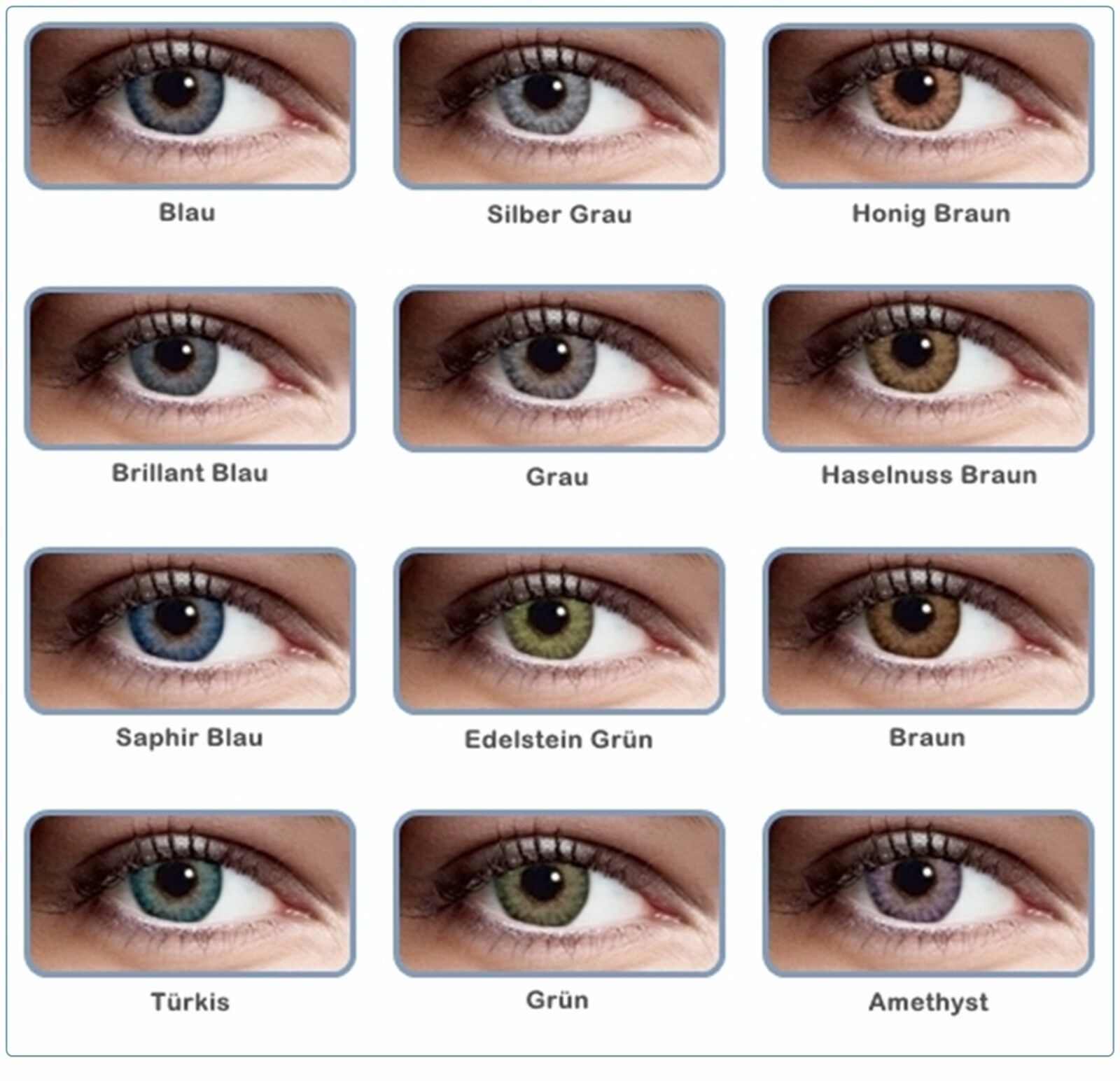 Weiche farbige 3 Ton Kontaktlinsen ohne Stärke Halloween Fasching Party Beauty