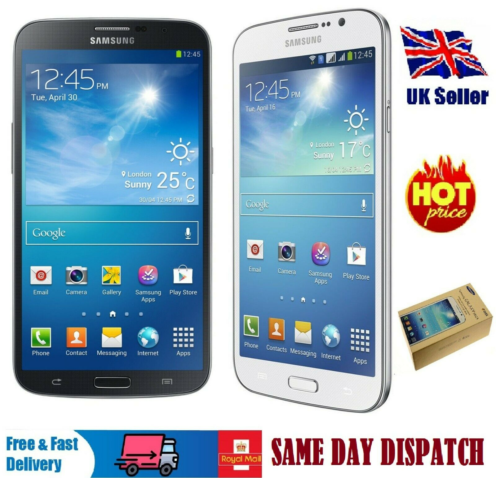Android Phone - Samsung Galaxy Mega 5.8 GT-I9152 8GB DUAL SIM Unlocked Smart Phone - wihte/black