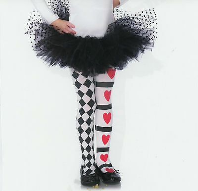 Child Harlequin and Heart Tights Alice in wonderland, Clown Jester (E)