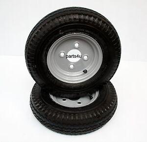 2x Komplettrad 4.80/4.00-8 4PR 62M Reifen mit Felge Anhänger Trailer DDR Reifen