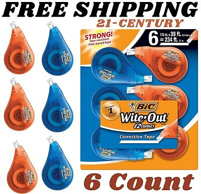 Bic Wite-out Brand Ez Correct Correction Tape White 6-count Tape Applies Dry ...