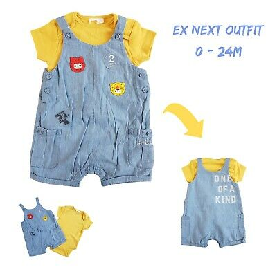 Baby Boys 2 Piece Dungaree Romper Outfit All In One Playsuit Summer Short Sleeve Boys Short Sleeve Romper