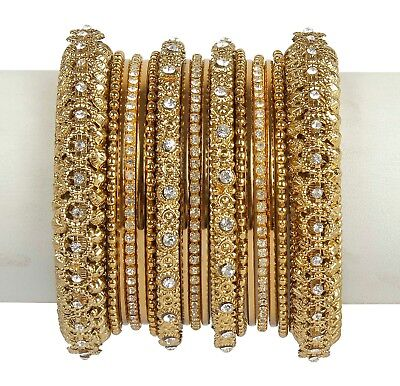 Designer Bollywood Bridal Bangle Bracelet Wedding Wear Indian Women Jewelry - Gold Bangle