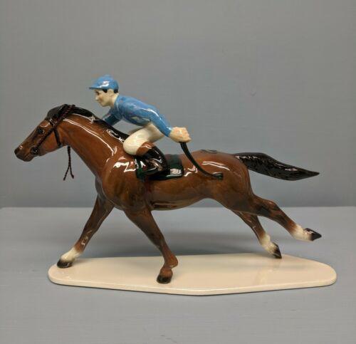 Nice Hagen Renaker Specialty Racehorse  and Jockey with Blue Silks